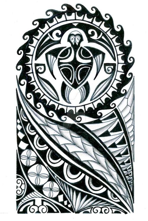 Polynesian sleeve tattoo - tatuajes maories