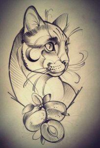 diseño tatuajes de gatos dibujos tattoo cat 14 204x300