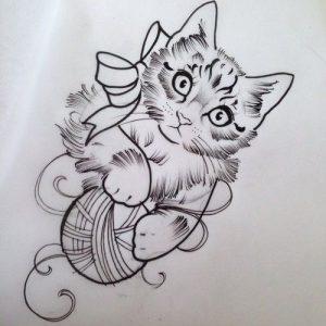 diseño tatuajes de gatos dibujos tattoo cat 2 300x300