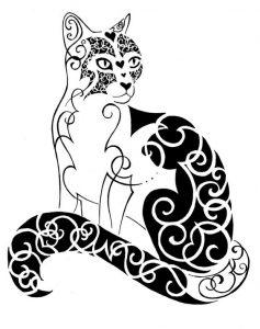 diseño tatuajes de gatos dibujos tattoo cat 6 237x300