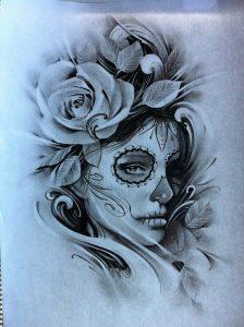 disenos bocetos tatuajes catrinas 1 224x300