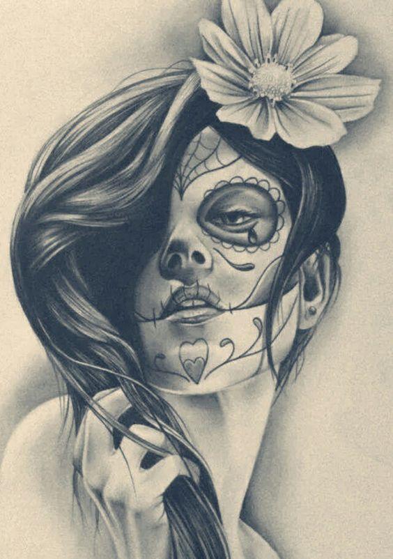 disenos bocetos tatuajes catrinas 2 - tatuajes de catrinas