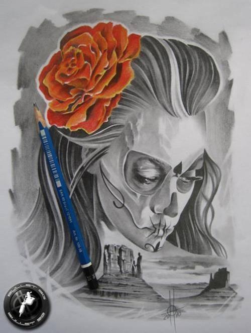 disenos bocetos tatuajes catrinas 7 - tatuajes de catrinas
