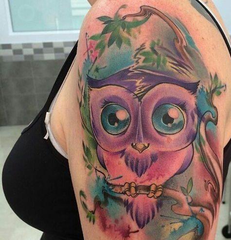 tattoo buho tatuajes nueva escuela 1 e1487179433329 - tatuajes de búhos
