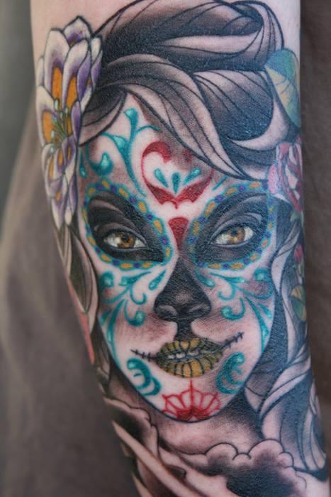tatuaje catrina color tattoo 2 - tatuajes de catrinas