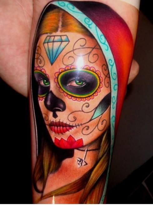 tatuaje catrina color tattoo 5 - tatuajes de catrinas