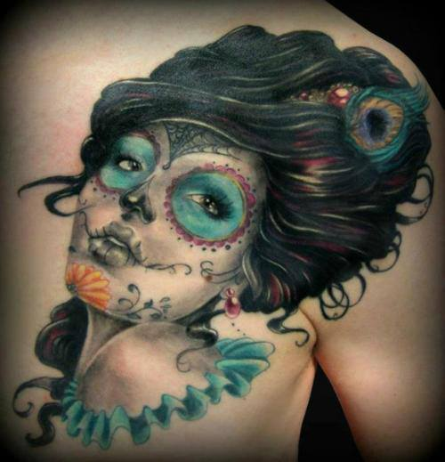 tatuaje catrina color tattoo 6 - tatuajes de catrinas
