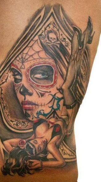 tatuaje catrina color tattoo 7 - tatuajes de catrinas