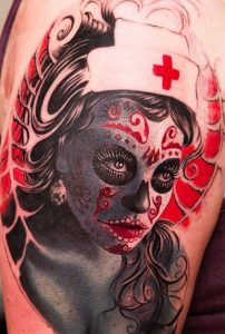 tatuaje catrina color tattoo 8 202x300