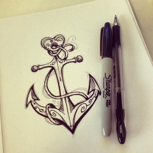 tatuajes anclas imagenes bocetos 1 - tatuajes de anclas
