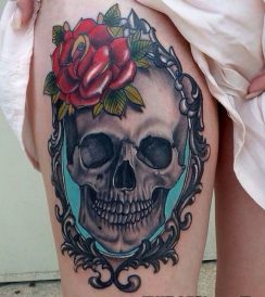 skull leg tattoos