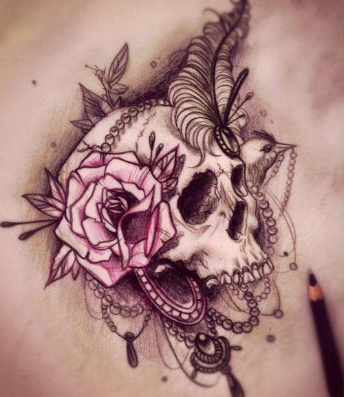 tatuajes calaveras con rosas 5 150x150