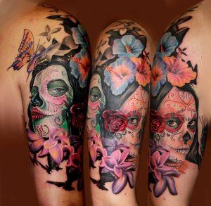 tatuajes catrinas brazo tattoo 1 300x293