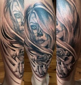 tatuajes catrinas pierna tattoo 1 286x300