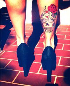 tatuajes catrinas pierna tattoo 10 243x300