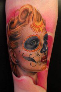 tatuajes catrinas pierna tattoo 2 200x300