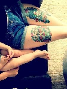tatuajes catrinas pierna tattoo 4 225x300