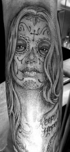 tatuajes catrinas pierna tattoo 6 139x300