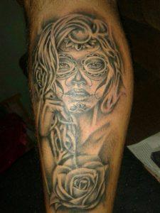 tatuajes catrinas pierna tattoo 7 225x300