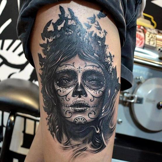 tatuajes catrinas pierna tattoo 8 - tatuajes de catrinas