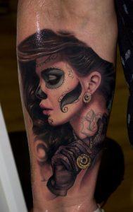 tatuajes catrinas pierna tattoo 9 189x300