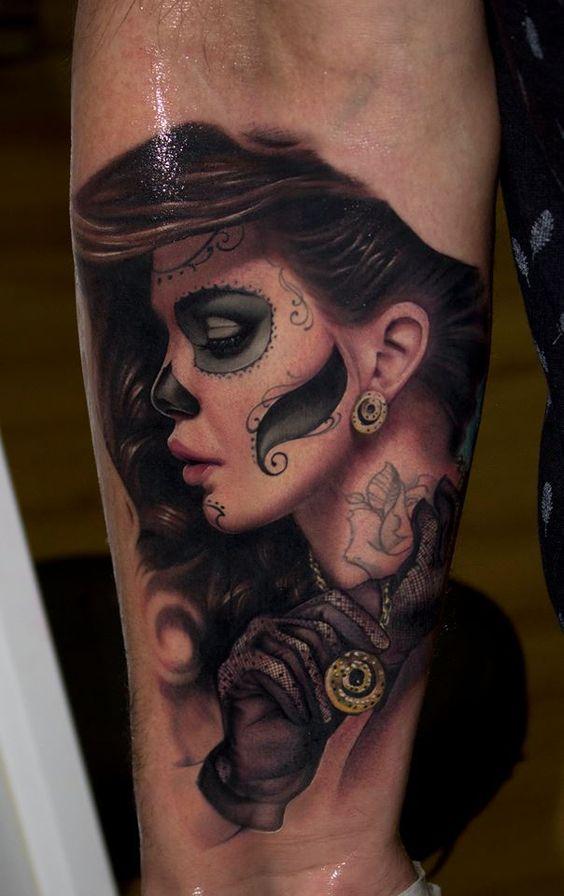 tatuajes catrinas pierna tattoo 9 - tatuajes de catrinas