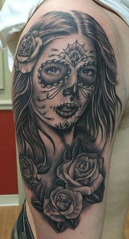 tatuajes catrinas rosas tattoo 1 - tatuajes de catrinas
