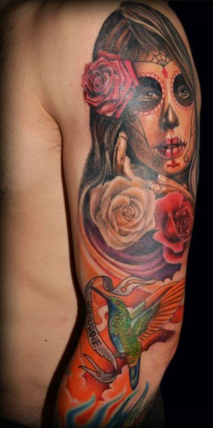 tatuajes catrinas rosas tattoo 2 - tatuajes de catrinas