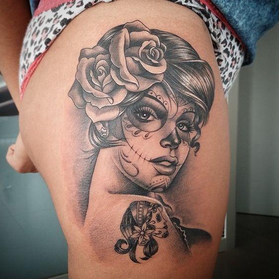 tatuajes catrinas rosas tattoo 5 - tatuajes de catrinas