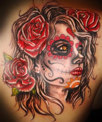 tatuajes catrinas rosas tattoo 6 - tatuajes de catrinas