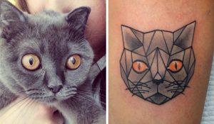 tatuajes de gatos para hombres felinos 9 300x175