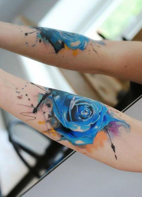 tatuajes de rosas azules 2 - tatuajes de rosas