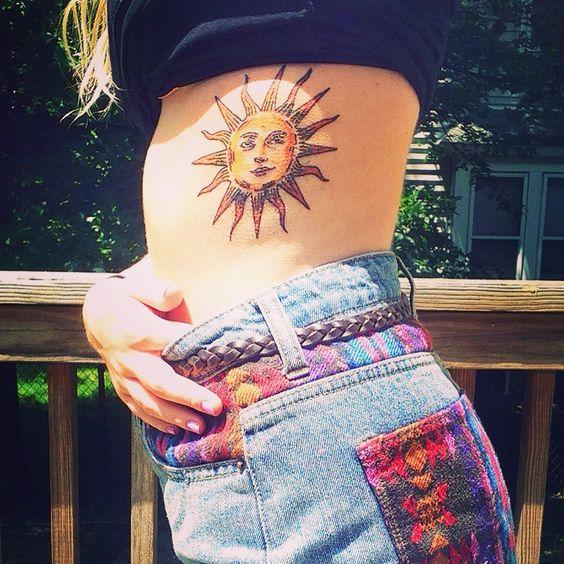 tatuajes sol color 1 - tatuajes del sol