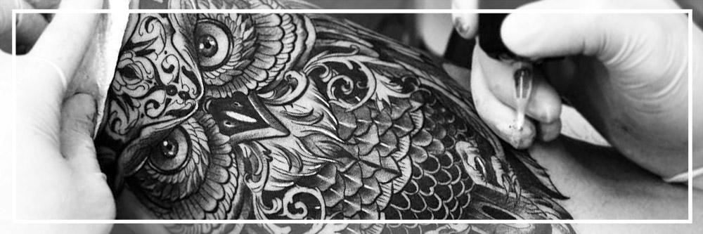 Black Grey Owl Tattoo