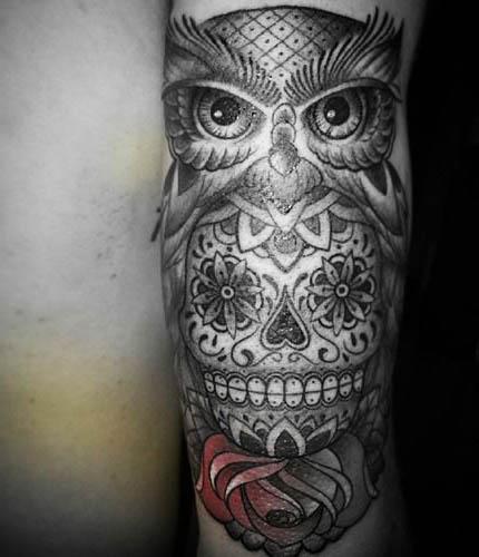tattoo calaveras buhos calaveras 1 - tatuajes de búhos