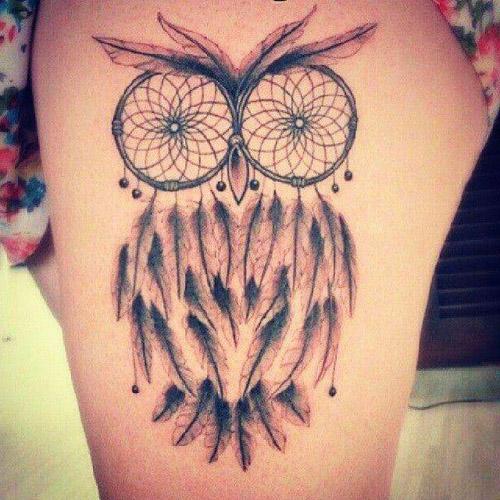 tatuajes buhos atrapasueños - tatuajes de búhos