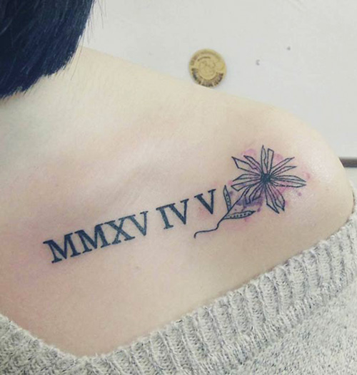 tatuajes numeros romanos calvicula 1