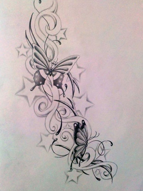 diseños bocetos plantillas tatuaje de una mariposa 3 - tatuajes de mariposas
