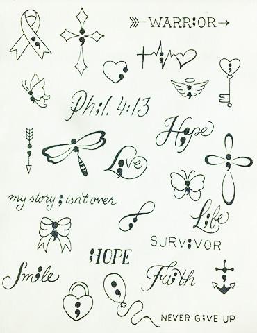 plantillas bocetos diseños semicolon punto y coma 3