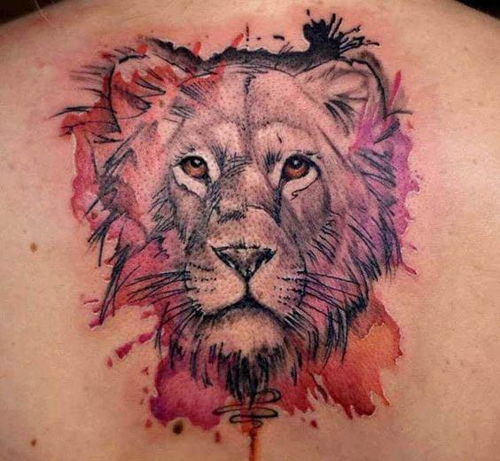 tattoo leones espalda 2 - leones
