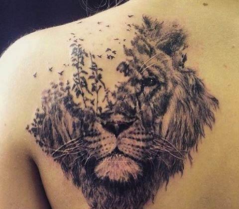 tattoo leones espalda 4 - leones