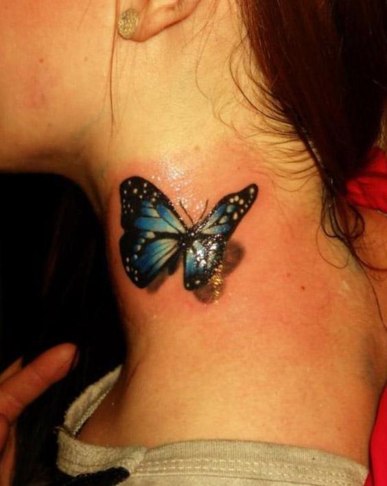 tattoo mariposa cuello flores 1 - tatuajes de mariposas