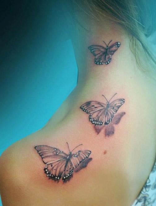 tattoo mariposa cuello flores 5 - tatuajes de mariposas