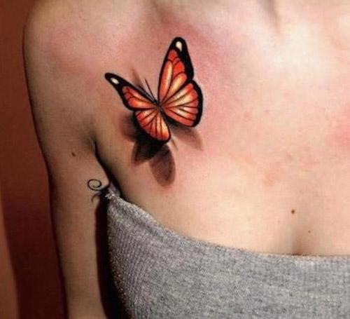tatuaje de una mariposa pecho hombro 2