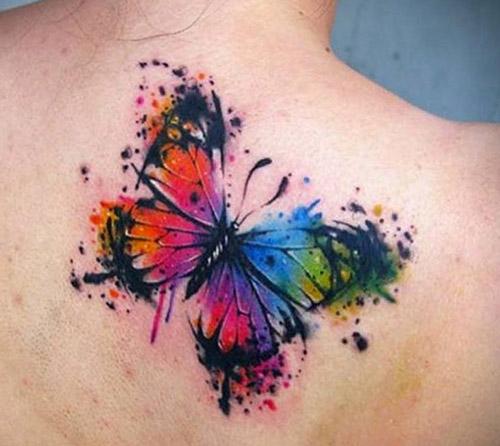 tatuajes a color de mariposas acuarela 2