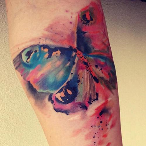 tatuajes a color de mariposas acuarela 3