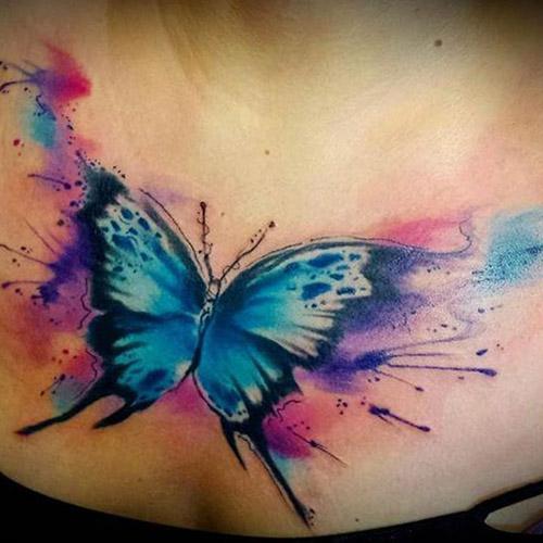 tatuajes a color de mariposas acuarela 4