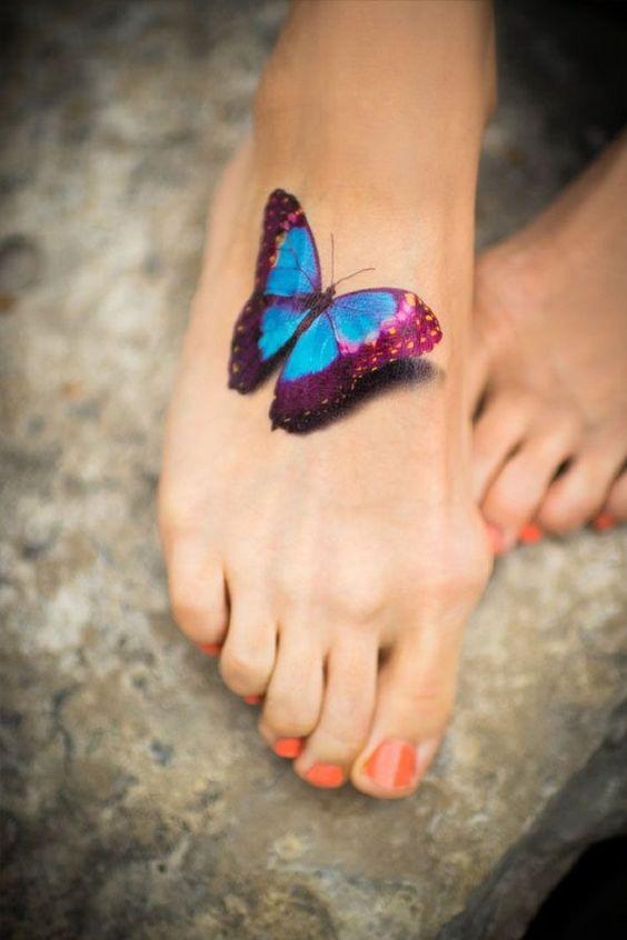 tatuajes de mariposas pie pequeños 1 - tatuajes de mariposas