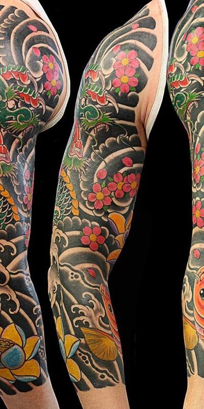 tatuajes dragones brazo mangas 1 - tatuajes de dragones