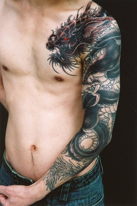 tatuajes dragones brazo mangas 5 - tatuajes de dragones